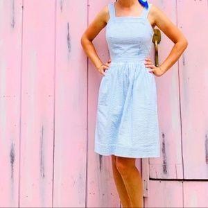 J Crew Factory Seersucker Apron Dress Medium